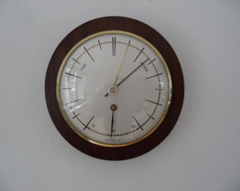 Moco german indoor weather station,Vintage weather instrument,wall barometer and thermometer,framed in wood