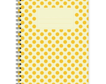 Notebook A5 - Yellow Polka Dots Pattern