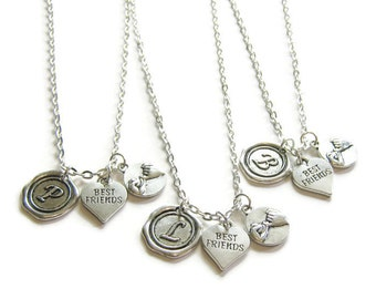 3 Best Friends Necklaces,Wax Seal Initial, Pinky Promise And Heart Best Friend, Three Best Friends, 3 BFF Necklaces, 3 Friends Jewelry