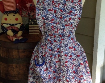 Red, white and blue apron ruffle apron with pocket