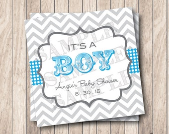 Personalized Printable It's A Boy Tags, Printable Boy Circus Baby Shower Tags, Chevron Baby Shower Tags . Blue & Grey