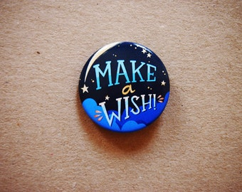 Make a wish pin, pin button, make a wish brooch, blue button brooch, badge, pin buttons, gift for best friend, star pin, constellation pin