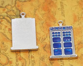 2pcs/lot tardis Charms Silver tone doctor who blue box Charm pendants 27x48x3mm SD2641