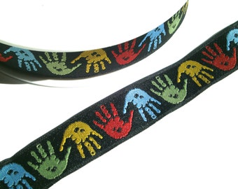 """1 m Woven Ribbon """" Hands"""" 18 mm w."""