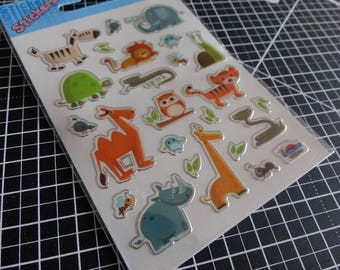 Overall stickers decals Gift mirror - multicolored funny animals