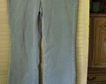 Corduroy Jeans/ Stretch Pinwale Cords/ Retro Faded Glory/ Baby Blue Flare Jeans/ Thrifted Jeans/ Funky Clothing/ Shabbyfab Funwear