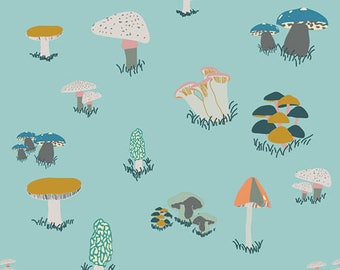 """Fabric Remnant - Agaricus Forest Blue - Art Gallery Fabrics - 48""""x12"""""""