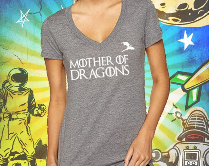 Game of Thrones / Mother of Dragons / Women's Heather Gray Triblend Deep V-Neck T-Shirt