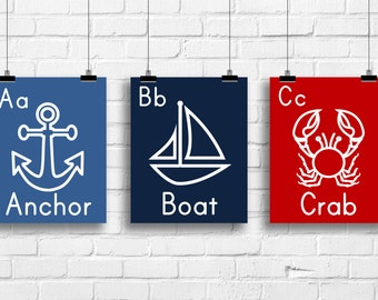 Nautical art prints, anchor boat crab, alphabet nautical wall, Kids decor, Baby nursery, Typography, nautical art, nautical prints, kids art