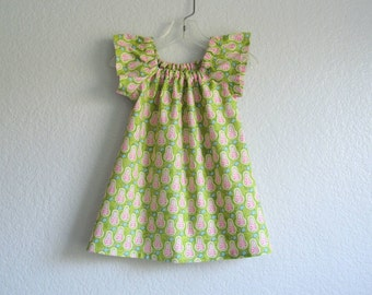Girls Green Flutter Sleeve Dress - Pink and Green with Rows of Pears - Little Girls Chartreuse Dress - Size 12m, 18m, 2T, 3T, 4T, 5, 6, or 8