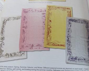 Vintage Tea Kitchen Towel Set   4 Seasons MIP Collector Book Piece