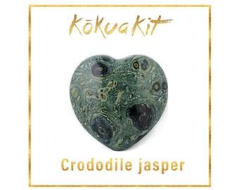 Heart shaped crystal: crocodile jasper