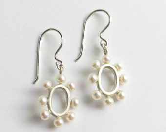 Sterling Silver or 14K Yellow Gold and White Freshwater Pearl Bridal Wedding Drop Earrings. Statement Pearl Earrings.