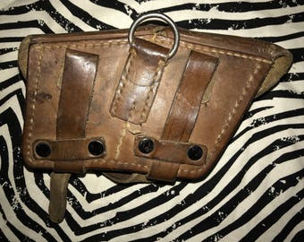 Vintage military ammo pouch pocket belt utility brown genuine leather army bag punk crust travel