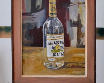 Study of Mr. Boston Rum Bottle, original oil on canvas painting