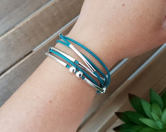YOU - Convertible jewelry, woman, Leather Bracelet, bracelet handmade, jewelry handmade turquoise women bracelet, wrap bracelet turquoise
