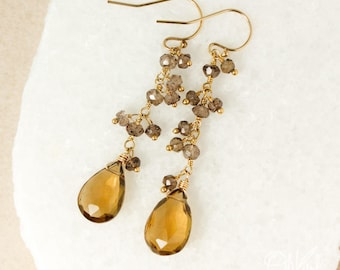 Gold Smokey Quartz Cluster & Whiskey Citrine Earrings - Teardrop Earrings - 14Kt Gold Filled
