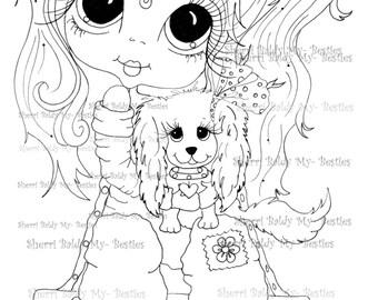 INSTANT DOWNLOAD Digital Digi Stamps Big Eye Big Head Dolls Digi  My - Besties  Tippy Long Locks img938 By Sherri Baldy