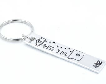 Custom Key Chain. Long Distance Gift . Miss You Gift .  Gift for Him. Gift for Her. LDR. Personalized Keychain