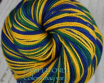 """Dyed to Order: Sports Team Self-striping Sock Yarn - """"BLUE-GOLD-GREEN"""" - Hand dyed - Utah"""