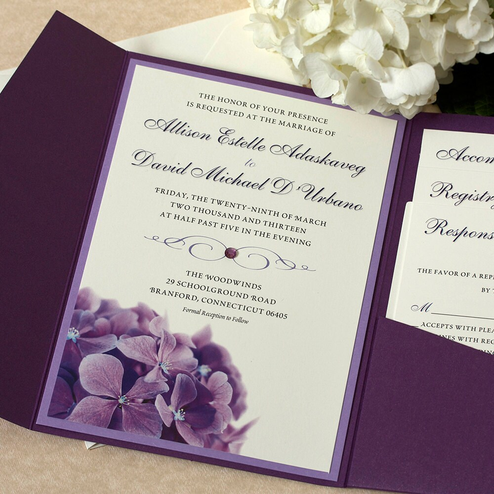 Purple Hydrangea Wedding Invitation Floral Invitation Purple