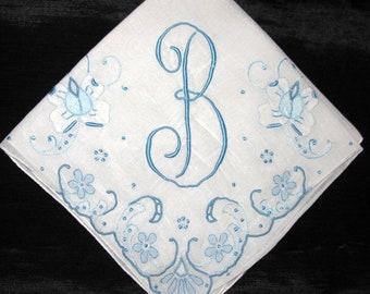 Handkerchief for wedding, Monogrammed Handkerchief Initial W Hankie, Wedding Monogram Bride Handkerchief Bridal