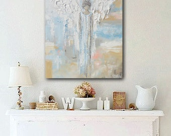 GICLEE PRINT Art Abstract Angel Painting Canvas Print Oil Painting Home Decor Wall Decor Spiritual White Blue Beige Pastel - Christine