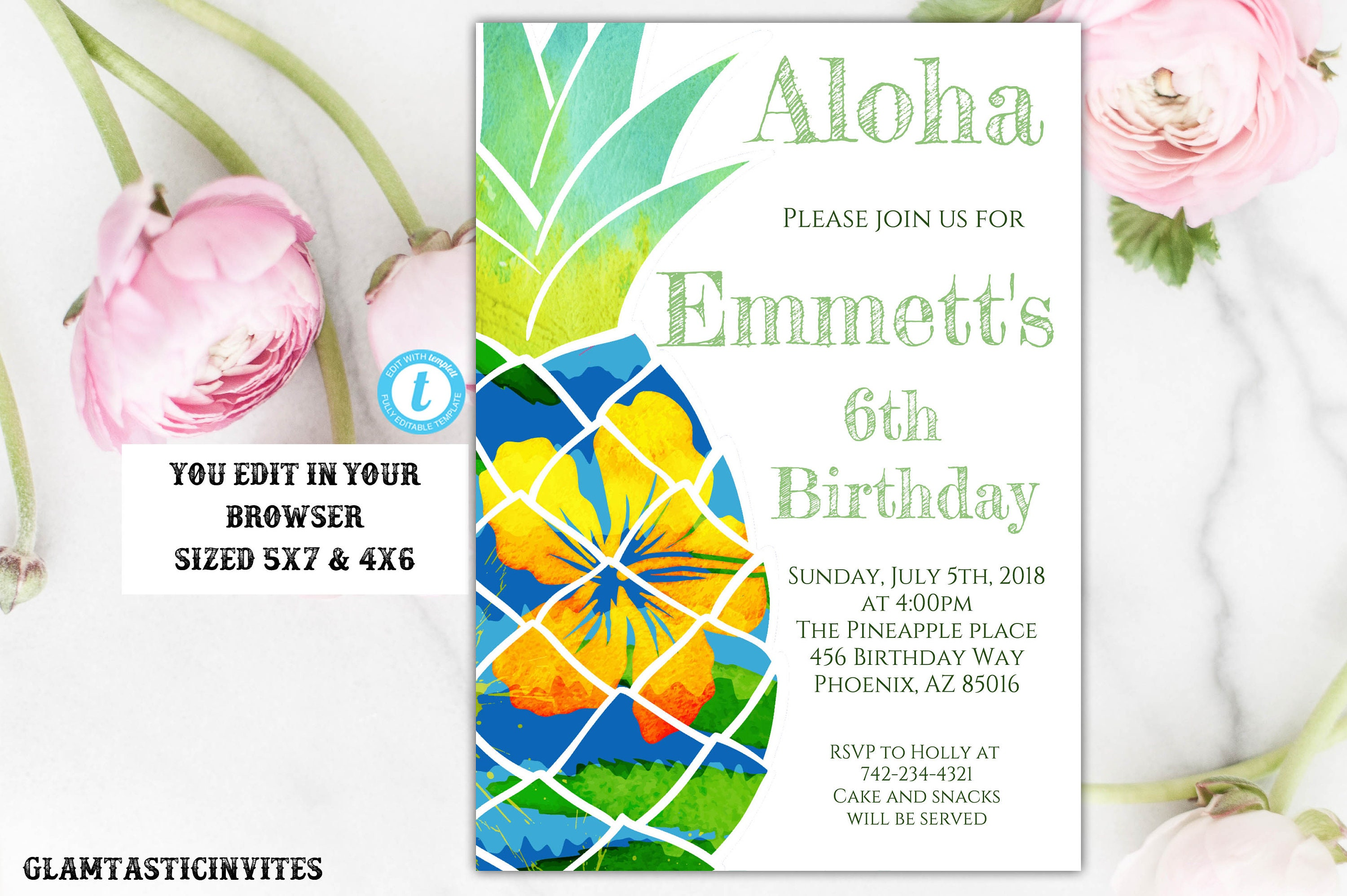 Pineapple Tropical Birthday Invitation, Birthday Invitation Template ...