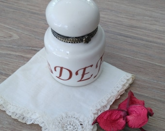 Small box porcelain Inkwell type letters and feather. Porcelain pill box. Trinket Box