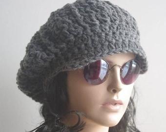 winter hat womens hats, Newsboy hat  dark gray gray  crochet Hat Slouchy Hat winter Accessories Woman hat crochet hat Gift for her