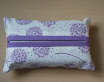 Travel tissue / kleenex holder  - 100% cotton modern dandelions design [Purple]