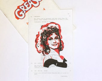 Grease Cast SANDY PRINT ONLY on Vintage Grease Movie Script Page, Olivia Newton-John