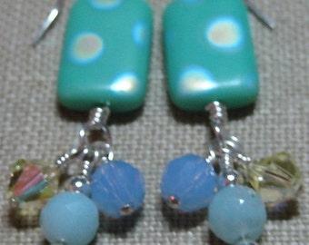 Mint, Yellow & Blue Dot Earrings - E596