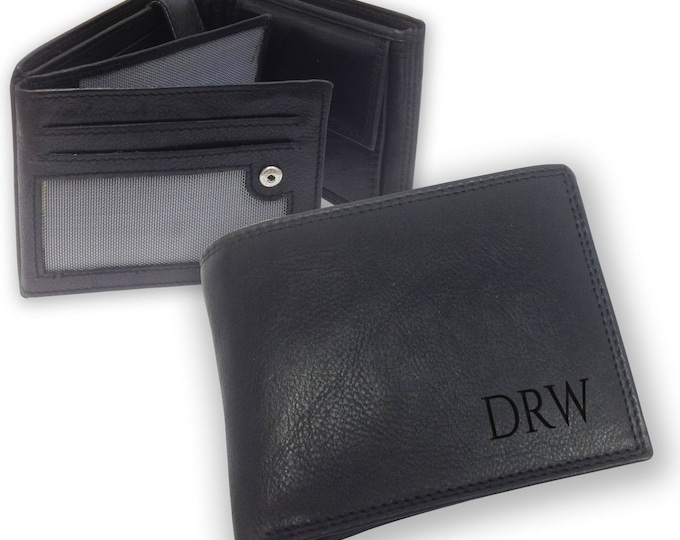 Personalised engraved mens LEATHER WALLET gift with coin purse, monogram monogrammed  initials - trifold personalized wallet - SAMB1