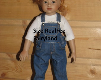 Denim Overall  for RealFee Fairyland dolls clothes  tiny