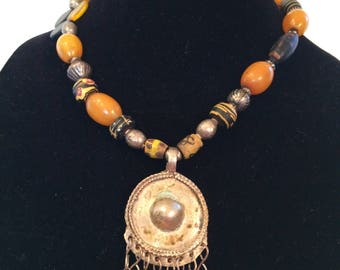 amber and African trade bead necklace with Thai pendant