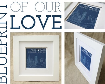 Framed Blueprint of Our Love  - Personalized Framed Art Piece