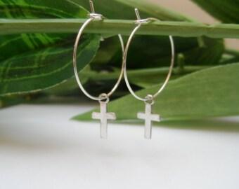 Girls Cross Hoop Earrings, Cross earrings, girls earrings, girls birthday gift, hoop earrings