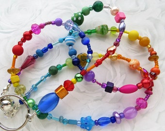 KALEIDOSCOPE- Handcrafted Beaded ID Lanyard Badge Holder- Millefiore, Pearls, Lampwork Beads, Crystals, and Glass Beads (Magnetic Clasp)