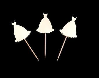 24 wedding dress toothpicks, wedding shower, wedding toothpicks, dessert toppers, appetizer picks, food picks, cupcake toppers
