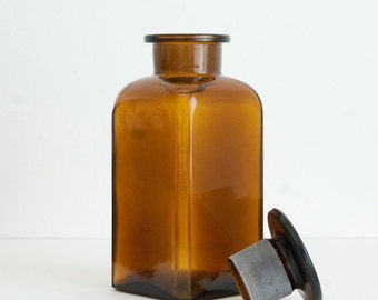 350 ml (11.8 fl oz) Amber Apothecary Jar, Square Czech glass
