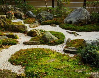 Japanese Nature Photography - Green Rock Garden in Eikan-dō Zenrin-ji Temple (Kyoto). Digital Wallpaper/Print.