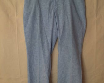 1970s Linen Pants - 37x28 - Sky Blue - Casual - Unique - Patterned - Summer Weight - Unbranded