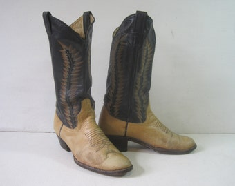 LARRY MAHAN'S Boot Collection Cowboy Western Boots Size: 7.5 Women's Stitched Genuine Leather Vintage A1150Bz