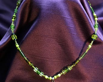 Handmade glass bead necklace with 925 silver seahorse pendant
