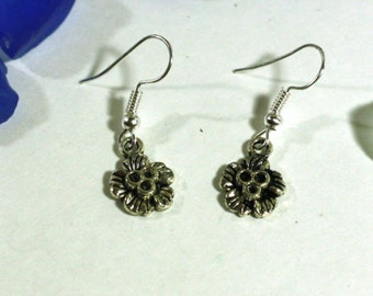 Little Silver Flower Charm Earrings - Womens Jewelry Accessories - Easter Spring Flower Girl Charms