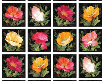 """Northcott - Full Bloom - 24"""" x 44"""" Poppies Panel - Fabric by the Panel 21778-99"""