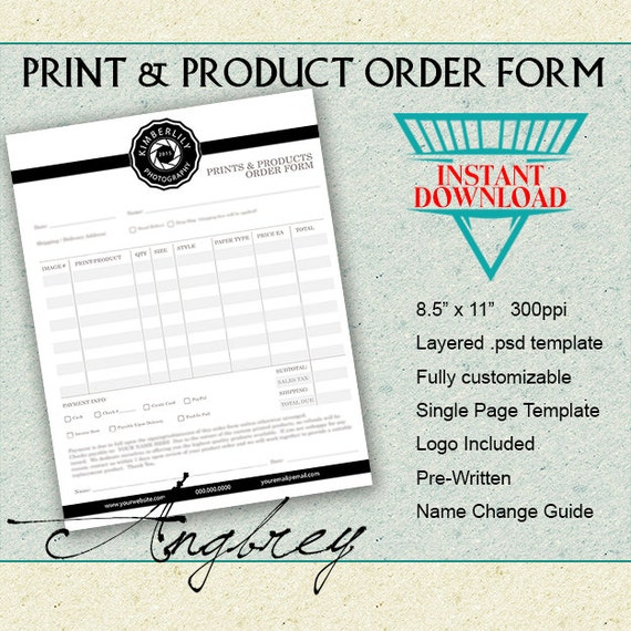 Print U0026 Product Order Form For Photographers, Photoshop Template, Instant  Download