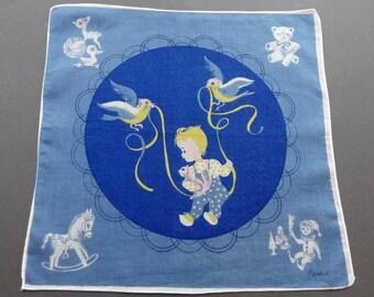 Baby Swing - Vintage Signed Child's Children Cotton Hankie Handkerchief