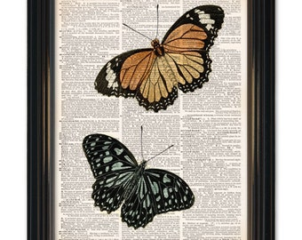 Butterfly dictionary art prints. Upcycled dictionary page print 8x10 inch. Collect 4 or 6 butterfly prints anf get up to 2 prints free!
